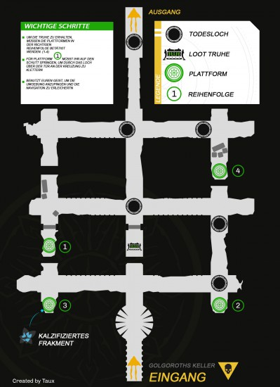 Raid-Guide Königsfall: Karte von Golgoroths Keller
