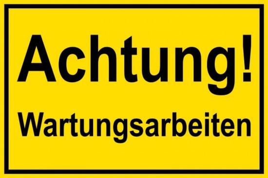 Schild mit der Aufschrift Wartungsarbeiten