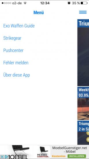 Im Menü der App könnt ihr direkt auf Guides zugreifen.