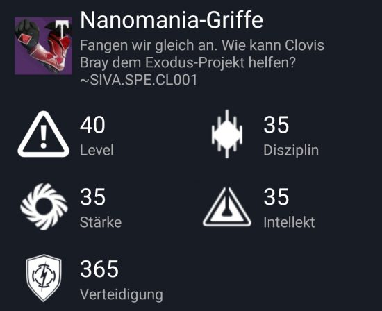 """Nanomania-Griffe"" aus dem Normal-Raid"