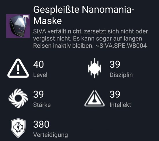 """Gespleißte Nanomania-Maske"" aus dem Hard-Raid"