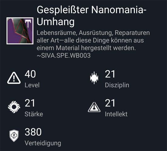 """Gespleißter Nanomania-Umhang"" aus dem Hard-Raid"
