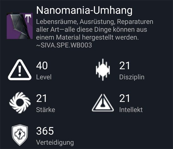 """Nanomania-Umhang"" aus dem Normal-Raid"