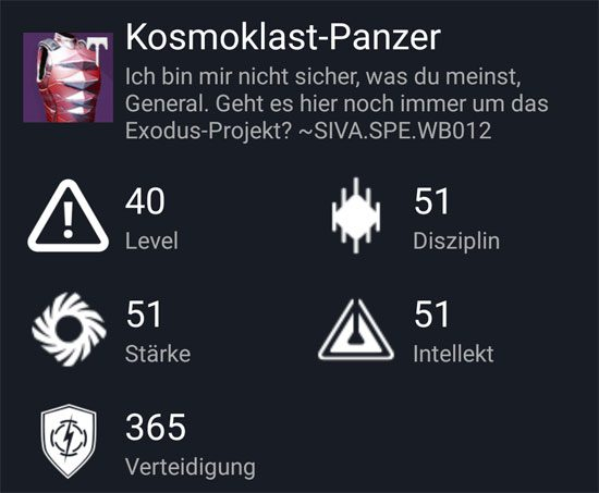 """Kosmoklast-Panzer"" aus dem Normal-Raid"