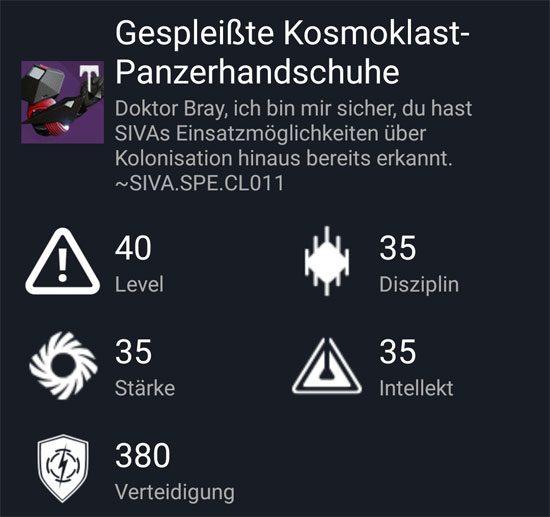 """Gespleißte Kosmoklast-Panzerhandschuhe"" aus dem Hard-Raid"