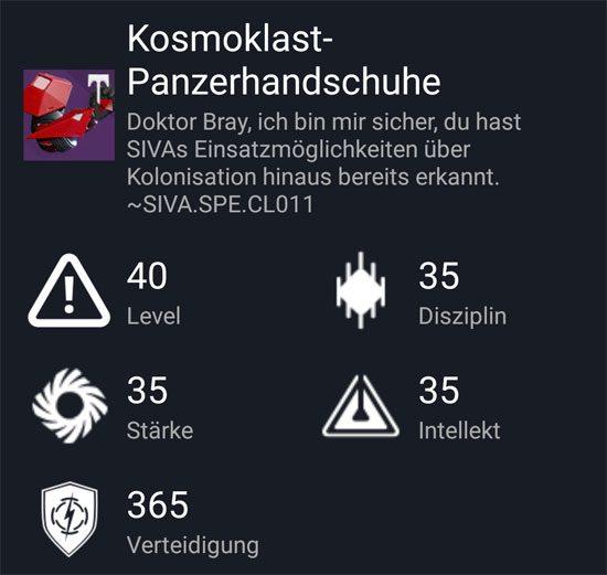 """Kosmoklast-Panzerhandschuhe"" aus dem Normal_Raid"