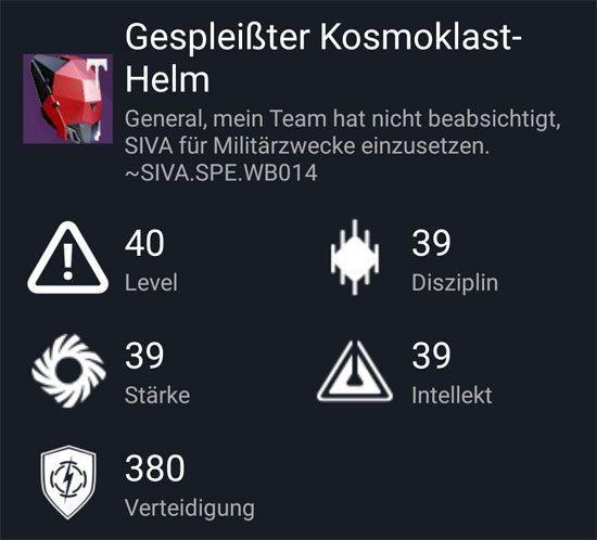"""Der """"Gespleißter Kosmoklast-Helm"""" aus dem Hard-Raid"""