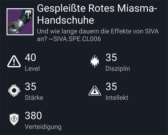 """Gespleißte Rotes-Miasma Handschuhe"" aus dem Hard-Raid"