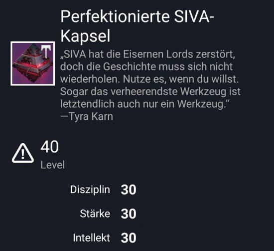 """Perfektionierte SIVA-Kapsel"" aus dem Hard-Raid"
