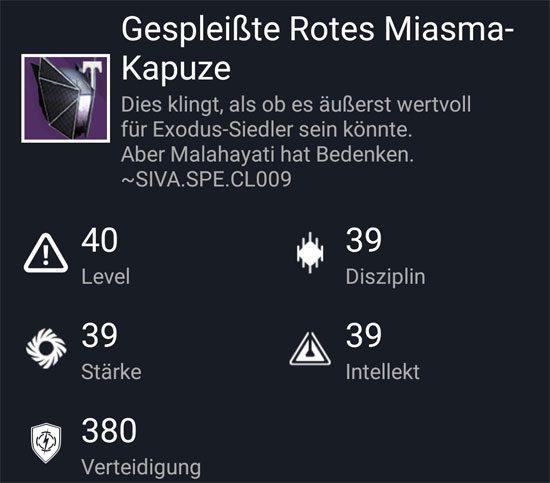 """""""Gespleißte Rotes-Miasma Kapuze"""" aus dem Hard-Raid"""