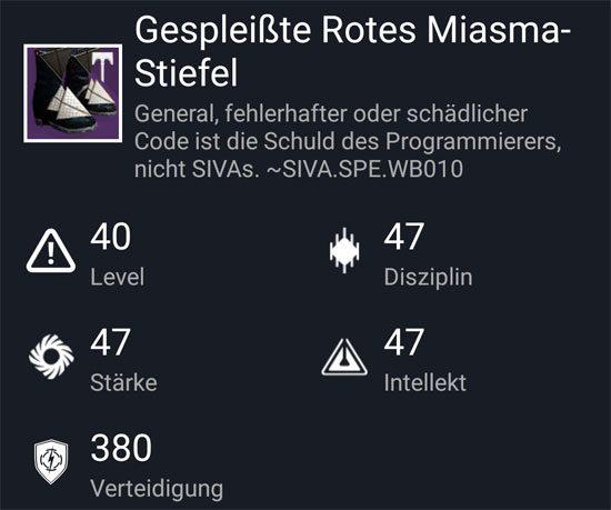 """""""Gespleißte Rotes-Miasma Stiefel"""" aus dem Hard-Raid"""
