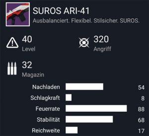 Waffentag-Lieferung Automatikgewehr SUROS ARI-41