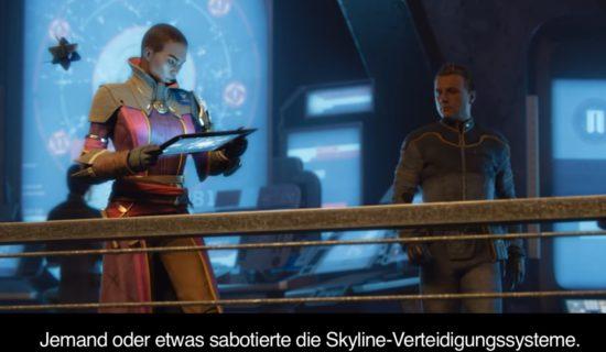 Destiny 2: Ikora Rey stellt fest, dass die Skyline-Verteidigungssysteme sabotiert worden sind.